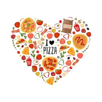 Composición de corazón de pizza
