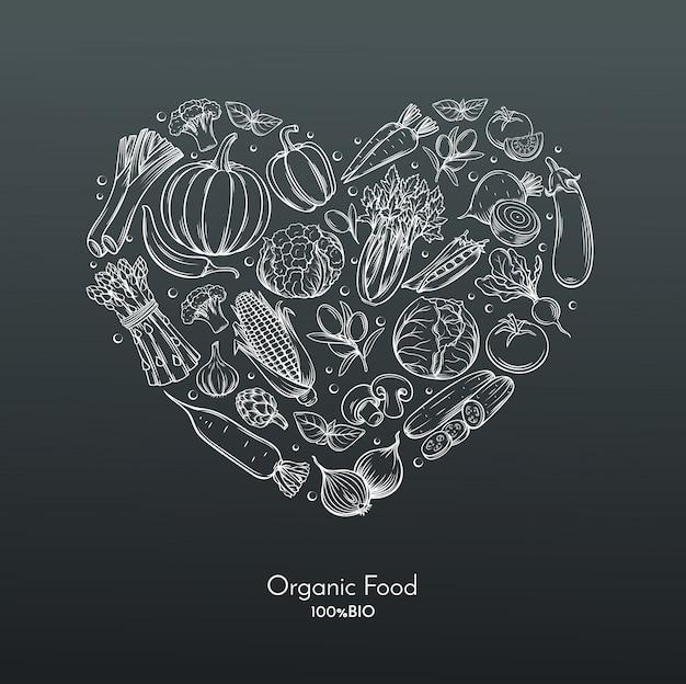 Composición del corazón con vegetales dibujados a mano