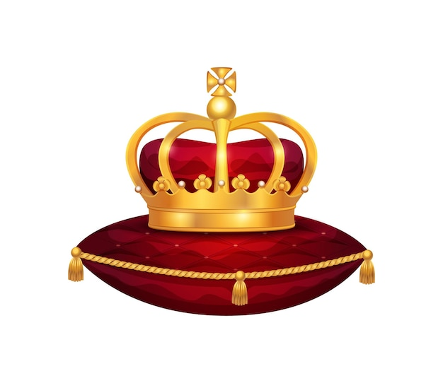 Composición de la corona de oro real con imagen aislada de corona sobre almohada de terciopelo rojo