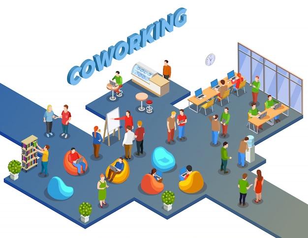Composición de coworking en espacios abiertos