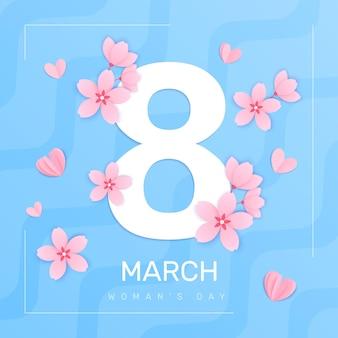 Composición cuadrada del día de la mujer del 8 de marzo con marco de fondo abstracto y gran dígito con ilustración de pétalos de flores