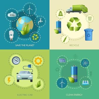 Composición cuadrada de energía limpia
