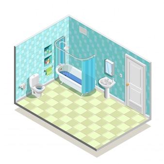 Composición de cuarto de baño isométrica