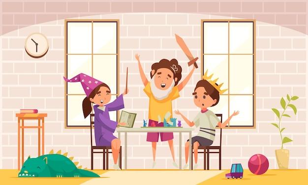 Composición de cuento de hadas de juegos de mesa con tres niños disfrazados de magos juegan el juego