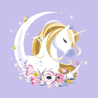Composición de cuento de hadas con unicornio, estrellas y luna creciente en el espacio pastel. espacio festivo o tarjeta de felicitación. paleta pastel goth. arte femenino lindo.