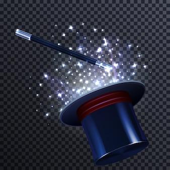 Composición de cuento con varita mágica y sombrero de mago