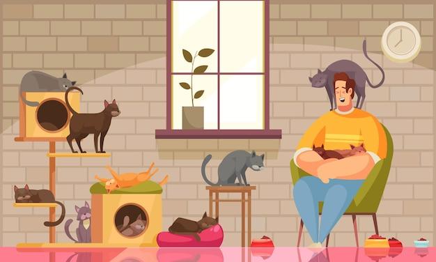 Composición de cuidador de mascotas con pared de paisaje de sala de estar con ventana y gatos con carácter humano sentado