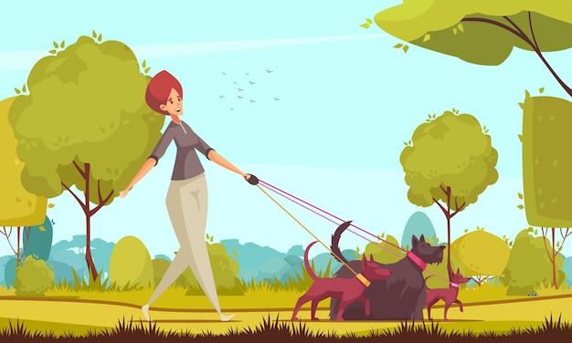 Composición de cuidador de perros con personaje humano femenino de dibujos animados caminando tres perros diferentes con paisaje de parque al aire libre