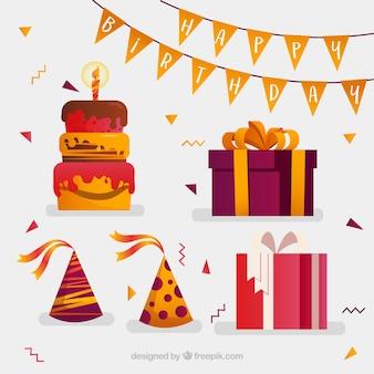Composición de cumpleaños con diseño plano