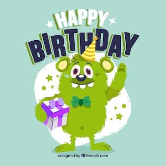 Composición de cumpleaños con monstruo adorable