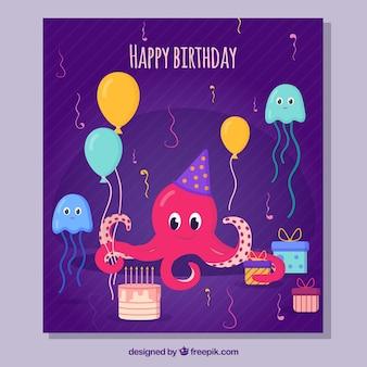 Composición de cumpleaños con pulpo feliz