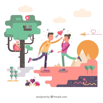 Composición de amor con diseño plano
