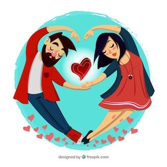 Composición de amor con pareja joven