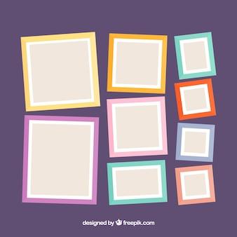 Composición de collage de marcos de fotos con diseño plano
