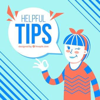 Composición de consejos útiles con mujer joven