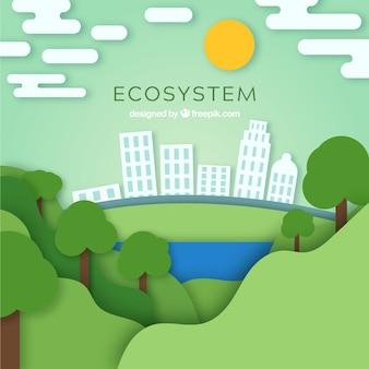 Composición de conservación de ecosistema con estilo de origami
