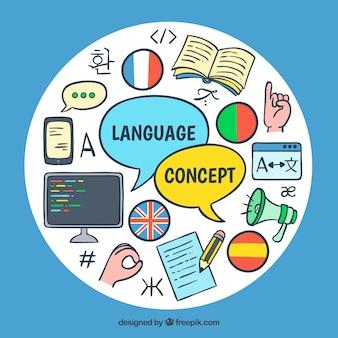 Composición de idiomas dibujada a mano