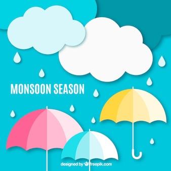 Composición de la época del monzón con estilo de origami