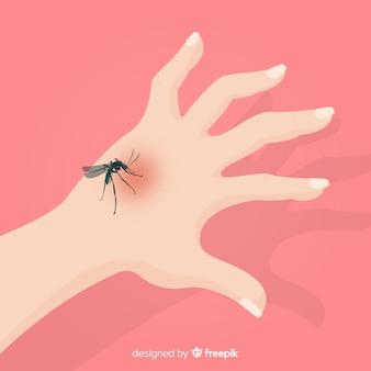 Composición de picadura de mosquito en la mano dibujada a mano
