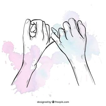 Composición de promesa de meñique dibujada a mano