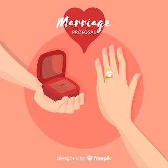 Composición de proposición de matrimonio dibujada a mano