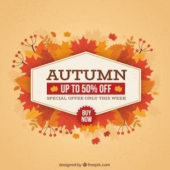 Composición de rebajas de otoño dibujada a mano