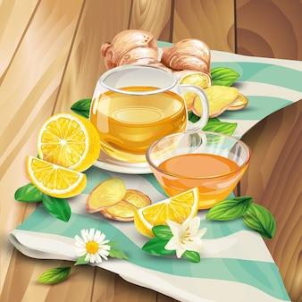 Composición de té de jengibre sobre fondo de madera