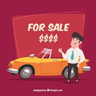 Composición de vendedor de coches con diseño plano