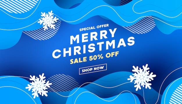 Composición decorativa de navidad con forma de onda líquida con sombras sobre un fondo azul con texto para banner