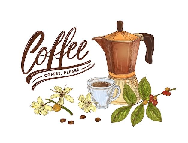 Composición decorativa con olla de moka, taza, rama de planta de café, frijoles y letras elegantes aisladas sobre fondo blanco. ilustración de vector realista dibujado a mano colorido en estilo vintage.