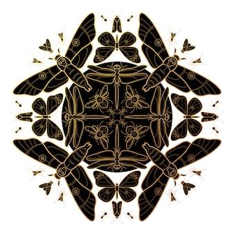Composición decorativa de varios insectos.