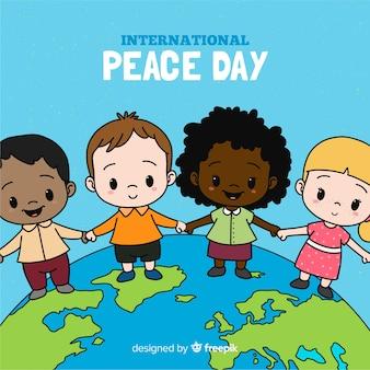 Composición del día de la paz con niños dibujados a mano