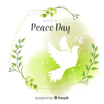 Composición del día de la paz con paloma blanca en acuarela