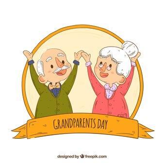 Composición del día de los abuelos dibujada a mano