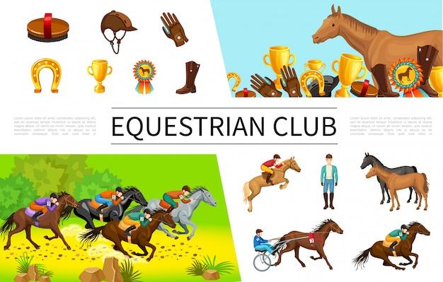 Composición de deporte ecuestre de dibujos animados con jinetes que montan a caballo y en carro, cepillo, tapa, guante, copa, medalla, bota, herradura