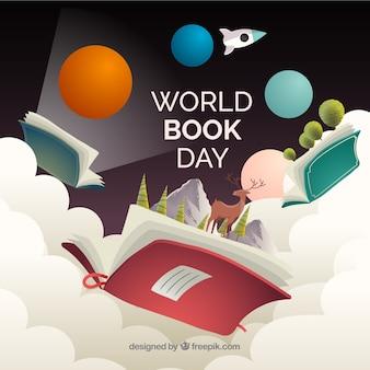 Composición del día del libro con estilo realista