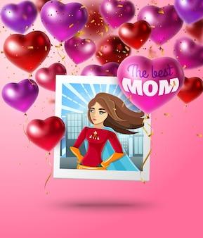Composición del día de la madre de globos en forma de corazón cuadrados.