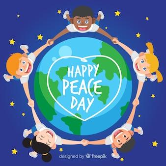 Composición del día de la paz con niños de diseño plano