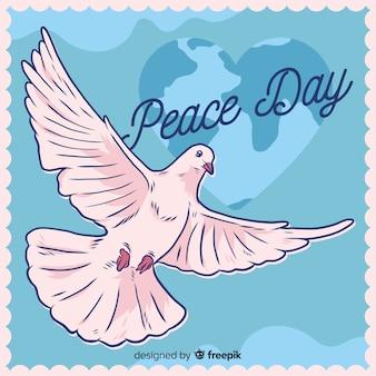 Composición del día de la paz con paloma blanca dibujada a mano