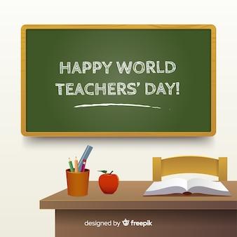 Composición del día del profesor con diseño realista