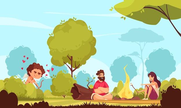 Composición del día de san valentín de cupido de amur con un paisaje de parque al aire libre y una pareja sentada cerca de una hoguera con cupido
