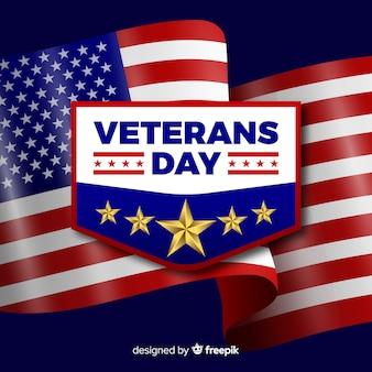Composición del día de los veteranos con bandera realista