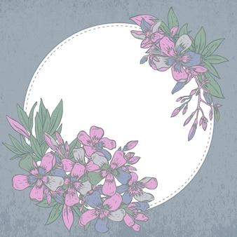 Composición dibujada a mano de flores de rododendro sobre fondo blanco.