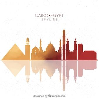 Composición dibujada a mano con skyline de el cairo