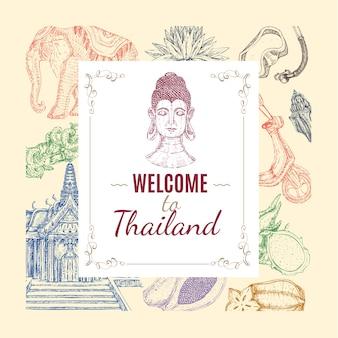Composición dibujada a mano de tailandia