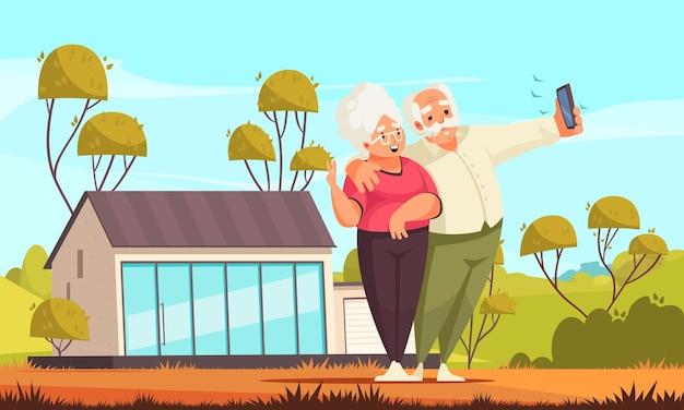 Composición de dibujos animados de actividad de personas mayores con feliz pareja senior tomando selfie en su ilustración de jardín trasero