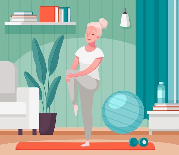 Composición de dibujos animados de actividades domésticas de personas mayores mayores con anciana estirando las piernas en la ilustración de la estera de fitness