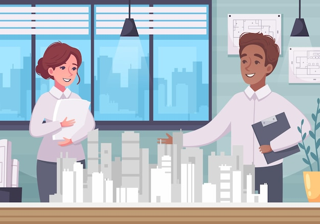 Composición de dibujos animados de arquitecto con modelo de ciudad en miniatura en el escenario de oficina con personajes humanos de arquitectos