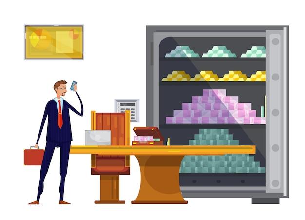 Composición de dibujos animados con caja de seguridad de oficina