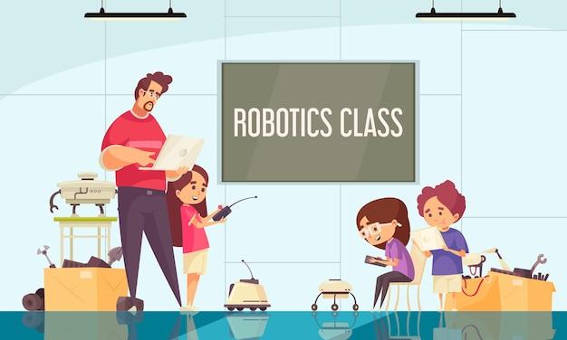 Composición de dibujos animados de la clase de robótica con el maestro que demuestra el control de movimiento de la ilustración de drones y robots